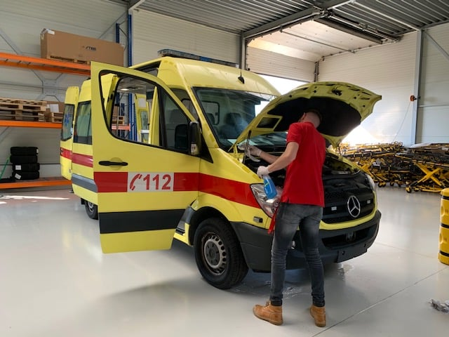 Ambulance being Refurbished by one of our employees