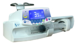 Fresenius_Kabi_Agilia_Injectomat Syringe Pump with screen on and pump installed